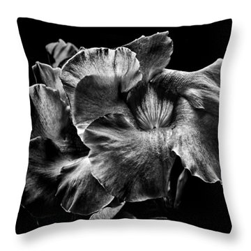 Throw Pillow featuring the photograph Backyard Flowers In Black And White 2 by Brian Carson