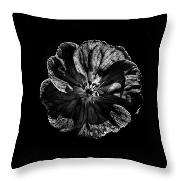Backyard Flowers In Black And White 6 Throw Pillow