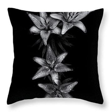 Throw Pillow featuring the photograph Backyard Flowers In Black And White 7 After The Storm by Brian Carson