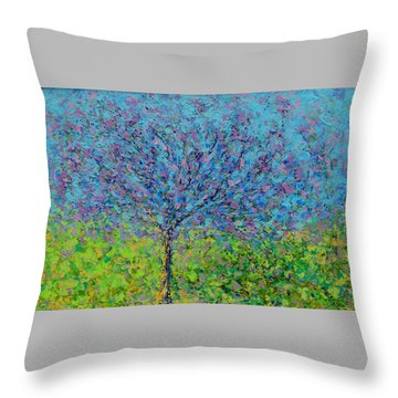 Purple Tree Throw Pillow by Kat Griffin