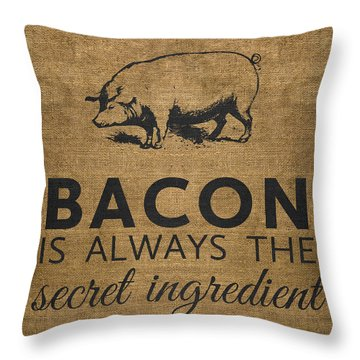 Throw Pillow featuring the digital art Bacon Is Always The Secret Ingredient by Nancy Ingersoll