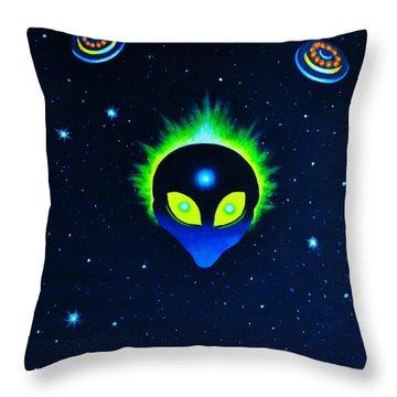 Bad Alien Throw Pillow