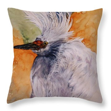 Throw Pillow featuring the painting Bad Hair Day by Lil Taylor