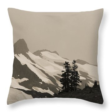 Fog In Mountains Throw Pillow