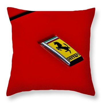 Badge In Red Throw Pillow by Dean Ferreira