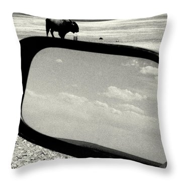 Badlands Bison Climbs Colossal Car Throw Pillow by David Gilbert
