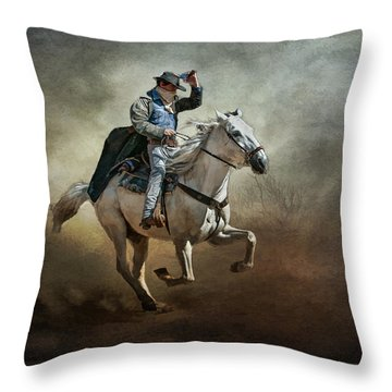 Throw Pillow featuring the photograph Badlands Cowboy by Brian Tarr