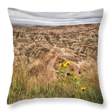 Badlands Wild Sunflowers Throw Pillow