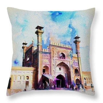 Badshahi Mosque Gate Throw Pillow by Catf