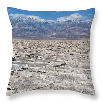 Badwater Basin - Death Valley Throw Pillow by Sandra Bronstein