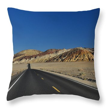 Throw Pillow featuring the photograph Badwater Road - Death Valley by Dana Sohr