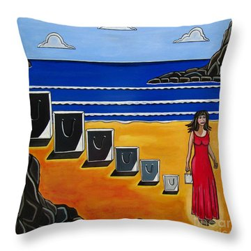 Baggage Throw Pillow by Sandra Marie Adams