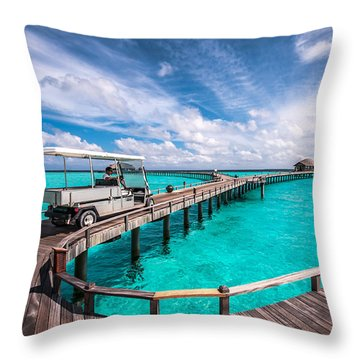 Baggy On The Jetty Over The Blue Lagoon Throw Pillow
