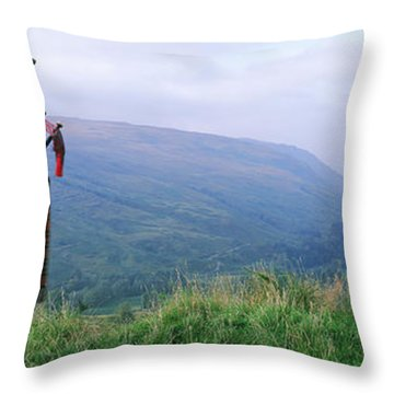 Bagpiper At Loch Broom In Scottish Throw Pillow