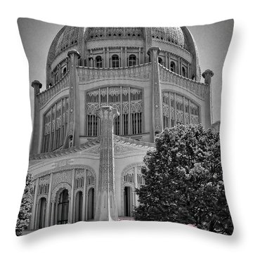 Bahai Temple Wilmette In Black And White Throw Pillow by Rudy Umans