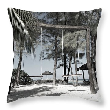 Throw Pillow featuring the photograph Bahamas Swings by Bob Sample