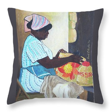Bahamian Woman Weaving Throw Pillow by Frank Hunter