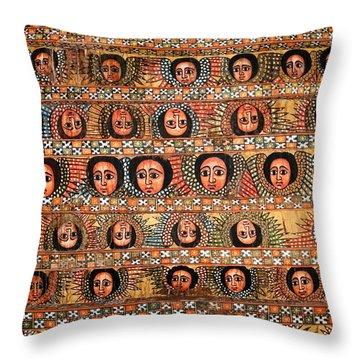 Bahar Bahir Dar Ethiopia Bright Colour Painted Church Ceiling Throw Pillow
