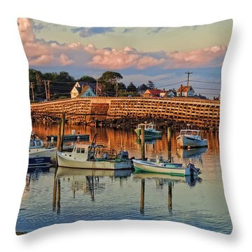 Bailey Island Bridge At Sunset Throw Pillow
