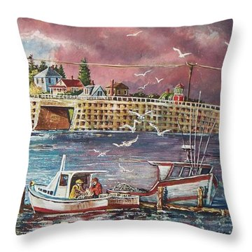 Bailey Island Cribstone Bridge Throw Pillow