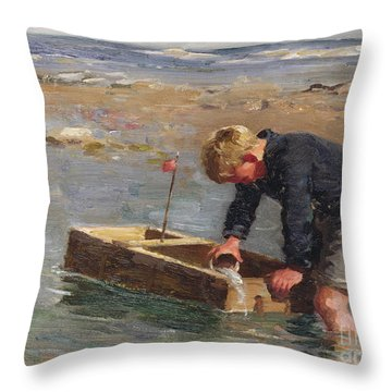 Bailing Out The Boat Throw Pillow