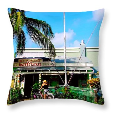 Bait And Tackle Key West Throw Pillow