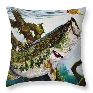 Baiting The Big One Throw Pillow by Bruce Bley