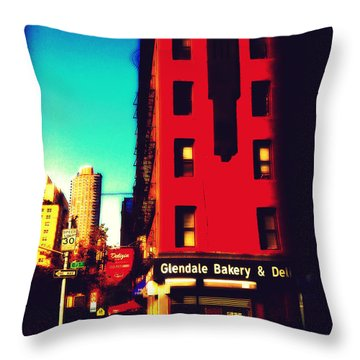 Throw Pillow featuring the photograph The Bakery - New York City Street Scene by Miriam Danar