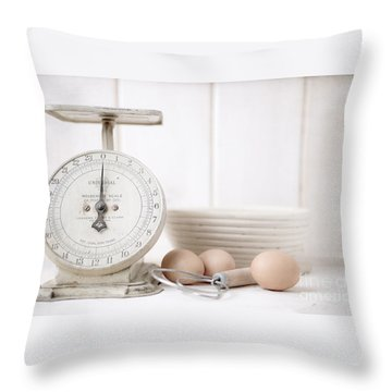 Baking Time Vintage Kitchen Scale Throw Pillow by Edward Fielding