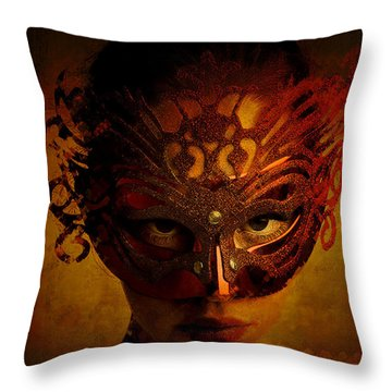 Throw Pillow featuring the digital art Bal Masque by Galen Valle