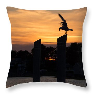Balance - A Seagull Sunset Silhouette Throw Pillow