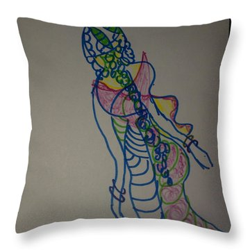 balance Indian water woman Throw Pillow