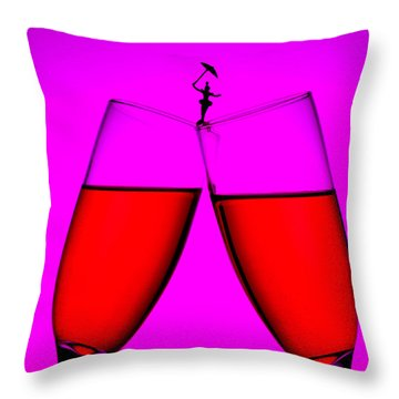 Balance On Red Wine Cups Little People On Food Throw Pillow by Paul Ge