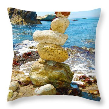 Balanced Beach Rock Stack Throw Pillow
