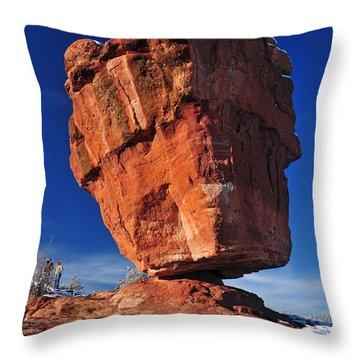 Balanced Rock At Garden Of The Gods With Snow Throw Pillow