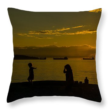 Balancing Into The Sunset Throw Pillow