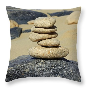 Balancing Rocks Throw Pillow by Denise Pohl