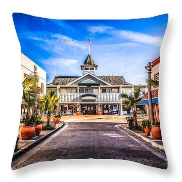 Balboa Main Street In Newport Beach Picture Throw Pillow by Paul Velgos