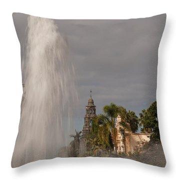 Balboa Park Fountain And California Tower Throw Pillow