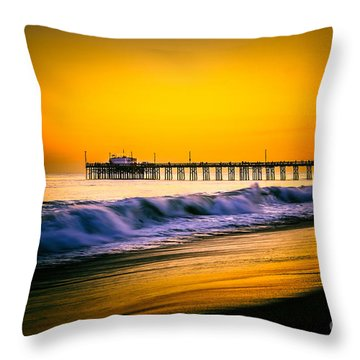 Balboa Pier Picture At Sunset In Orange County California Throw Pillow by Paul Velgos