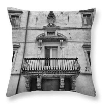 Balcony In Assisi Throw Pillow
