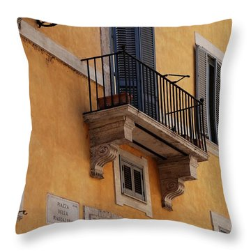 Balcony Piazza Della Madallena In Roma Throw Pillow by Dany Lison