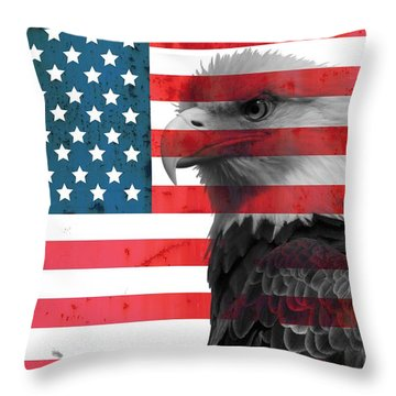Bald Eagle American Flag Throw Pillow by Dan Sproul