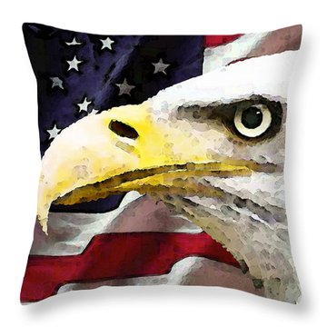 Bald Eagle Art - Old Glory - American Flag Throw Pillow by Sharon Cummings