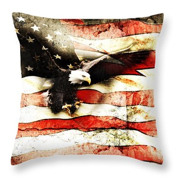 Bald Eagle Bursting Thru Flag Throw Pillow