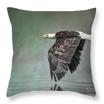 Throw Pillow featuring the photograph Bald Eagle In Mist by Brian Tarr