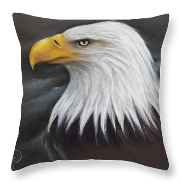 Throw Pillow featuring the drawing Bald Eagle by Patricia Lintner