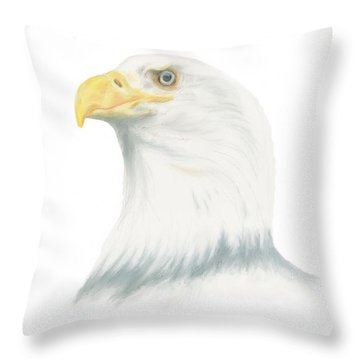 Throw Pillow featuring the drawing Bald Eagle by Terry Frederick
