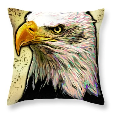 Throw Pillow featuring the digital art Bald Eagle by Ze  Di