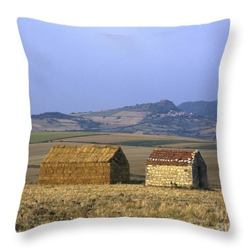 Bales Of Straw Stacked In The Shape Of A House Next To A Little Stone House. Limagne. Auvergne. Fran Throw Pillow by Bernard Jaubert